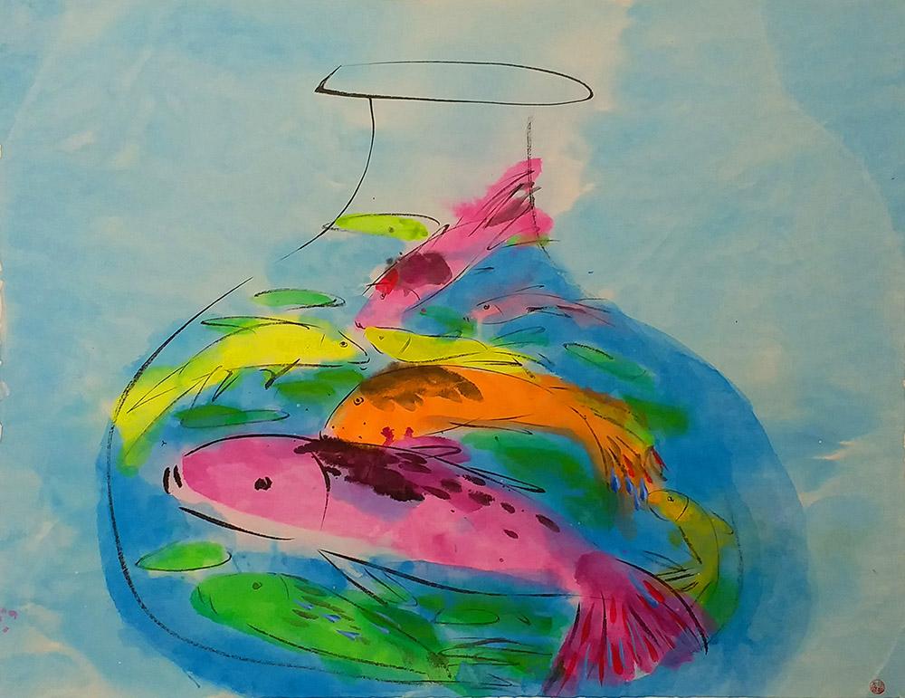 如魚得水(1990s), 74x96cm, 宣紙上墨, 塑膠彩(藝倡畫廊)