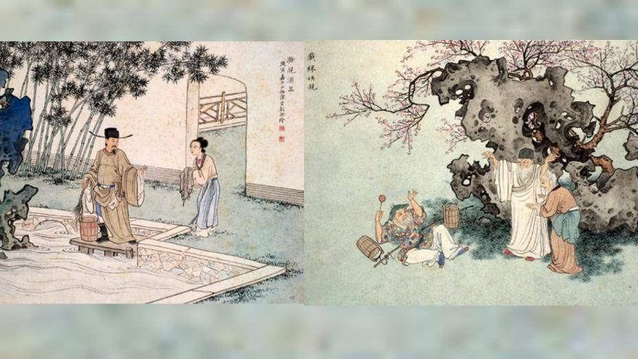「二十四孝」圖說:「戲彩娛親」(右)及「滌親溺器」(左)選擇(網上圖片)