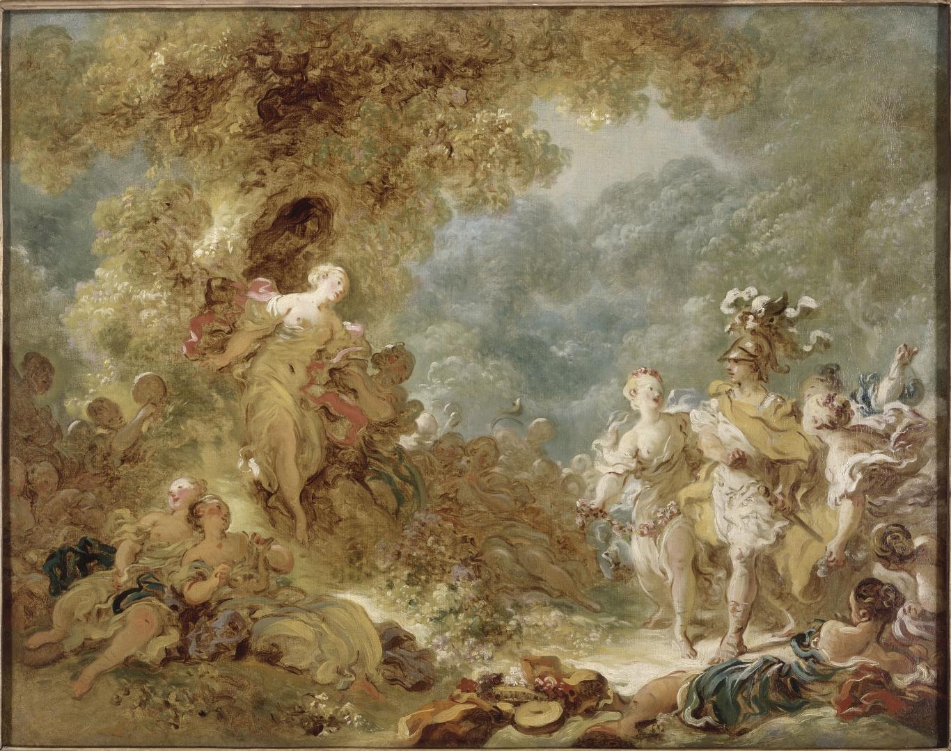 尚—奧諾雷.弗拉格納爾 格拉斯,1732年 ― 巴黎,1806年 雷諾多走入魔法森林 約1761–1765年 油彩布本 高:72厘米,寬:91厘米 羅浮宮博物館繪畫部