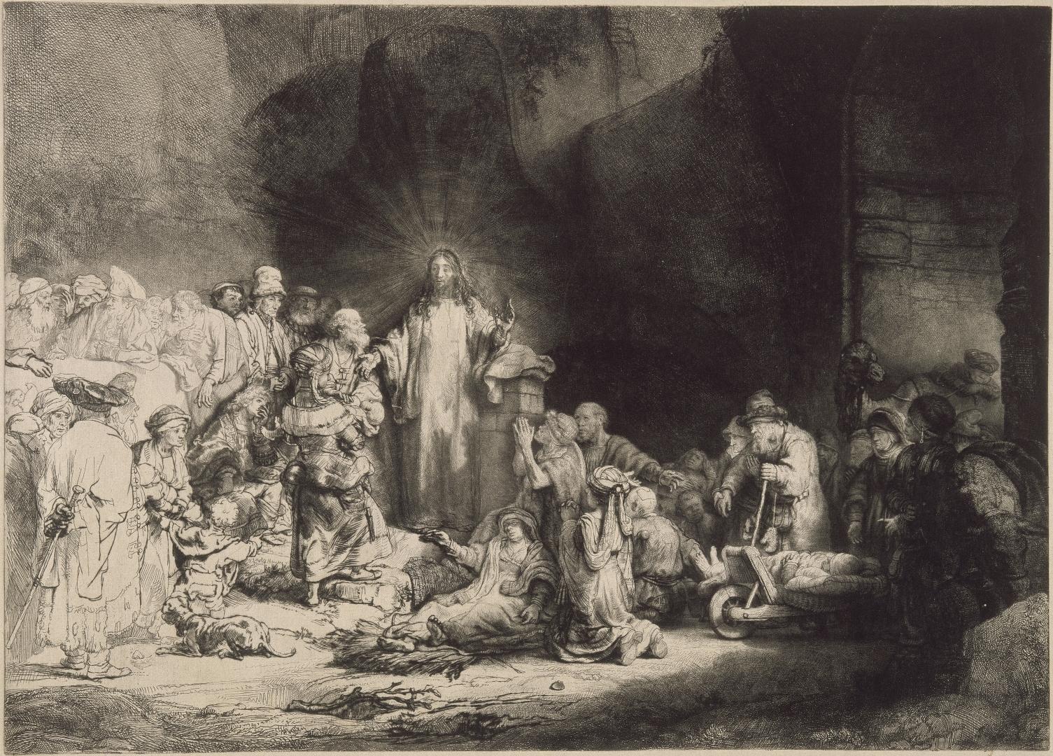 林布蘭 萊頓(荷蘭),1606年 ― 阿姆斯特丹,1669年 《耶穌行醫》 約1649年 凹版、蝕刻、推刀;初印稿 高:28.1厘米,寬:39.2厘米(壓印痕) 艾特蒙.羅富齊藏品 羅浮宮博物館素描版畫部