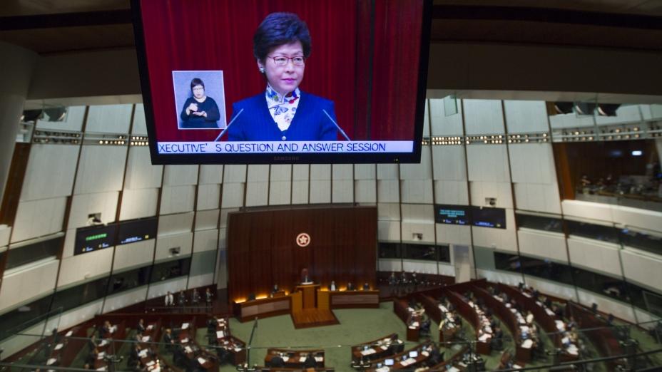 特首林鄭月娥昨天(7月5日)到立法會出席上任後首次答問大會(亞新社)