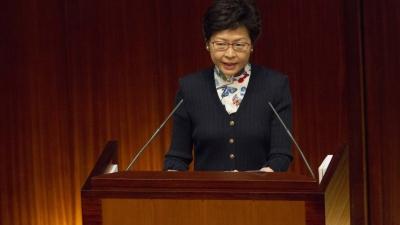 林鄭月娥宣布政府推出每年三萬元「自資學券」(亞新社)