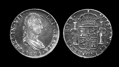 西班牙的銀幣是世界貿易的重要象徵。圖為1821年斐迪南七世時的西班牙銀圓。(wikimedia commons)