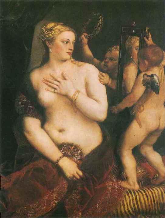 幼童與媽媽最密切的連結,是臍帶、母奶、牙牙學語時媽媽教的母語。圖為意大利畫家提香(Tiziano, 約1477—1576)的油畫〈照鏡的維納斯〉。