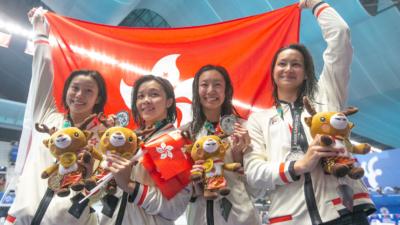 香港運動員於今年8月在印尼舉行的亞運會取得的驕人成績,8金18銀20銅,共46面獎牌。(亞新社)