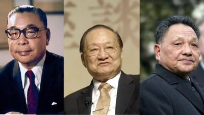 查良鏞(中)說蔣經國(左)和鄧小平(右)都能夠做到以民為先,不為個人利益行事施政。