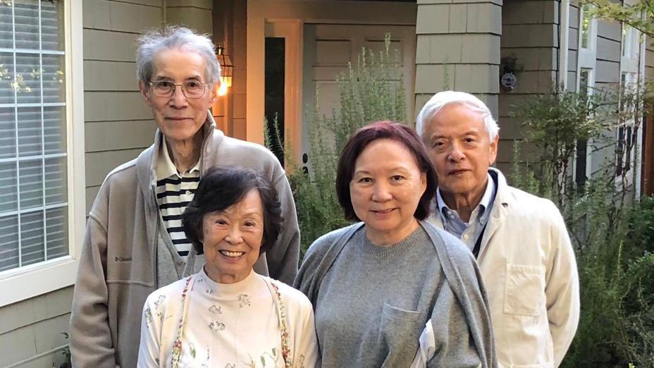 2018年9月,林行止伉儷(右一、右二)赴美國旅遊,往加州探望沈鑒治夫婦。(作者提供)