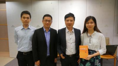 四位資深中文老師分享DSE中文科應試心得。(左起:李浩榮、謝承屹、蒲葦、吳皓妍)