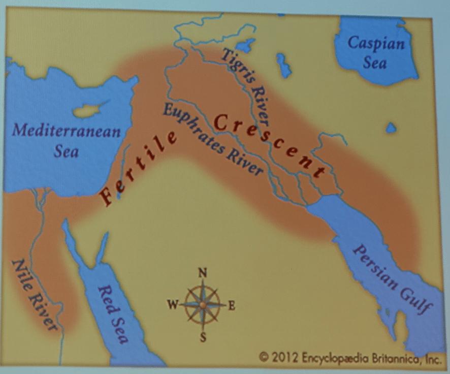 肥沃新月地帶的地圖。