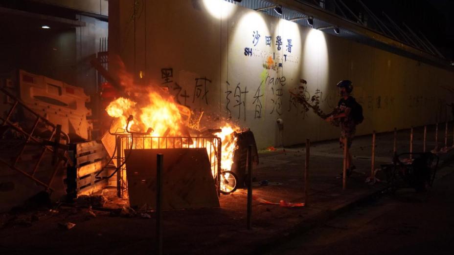 沙田警署外起火。