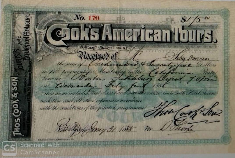 Thomas Cook 早年的收據。