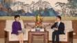韓正(右)上周在北京接見林鄭月娥時,要求她牢記習總書記囑託的溫馨提示。(亞新社)