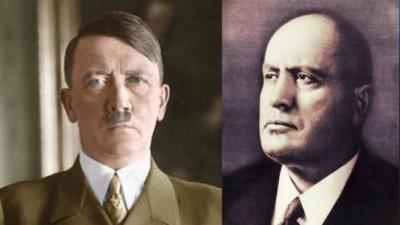 希特拉(圖左)和墨索里尼都是通過民主方式而取得政權的。歷史會不會重複,冠病疫情會不會再次對西方和西方式民主構成危機?(Wikimedia Commons)