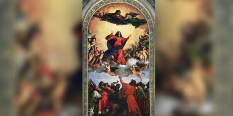 (圖1)《聖母升天》,提香,1516-18,木板油畫,高6.9米、寬3.6米,威尼斯弗拉里榮耀聖瑪莉教堂。(Assumption of the Virgin, Titian, Basilica di Santa Maria Gloriosa dei Frari , Venice.)