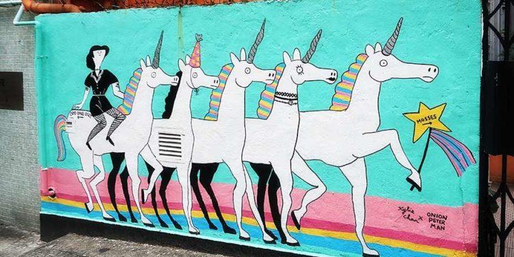 陳佳和彼得曼的獨角獸壁畫 Unicorns Mural by Kylie Chan and Onion Peterman