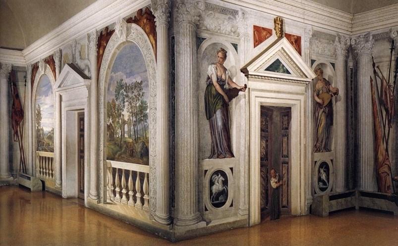 (圖7)巴巴羅別墅,委羅內塞,1555,壁畫——圖右門框裏的壁畫近看就是(圖9),女兒開門迎接父親回家。(Fresco, Villa Barbaro, Veronese)