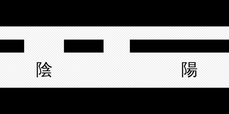 爻分「陰爻」和「陽爻」。「- -」和 「—」這兩個符號代表「陰」和「陽」。(維基百科)