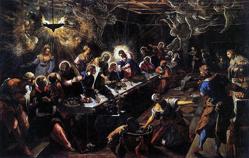(圖10)《最後晚餐》,丁托列托,1592-94,帆布油畫,高3.65米,寬5.7米,威尼斯 聖喬治馬喬雷大教堂(The Last Supper, Tintoretto, Basilica di San Giorgio Maggiore, Venice)