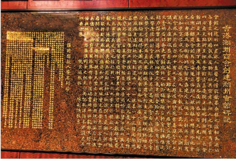潮州會館內用大理石鐫刻的《香港潮州商會創建潮州會館碑記》(作者提供)