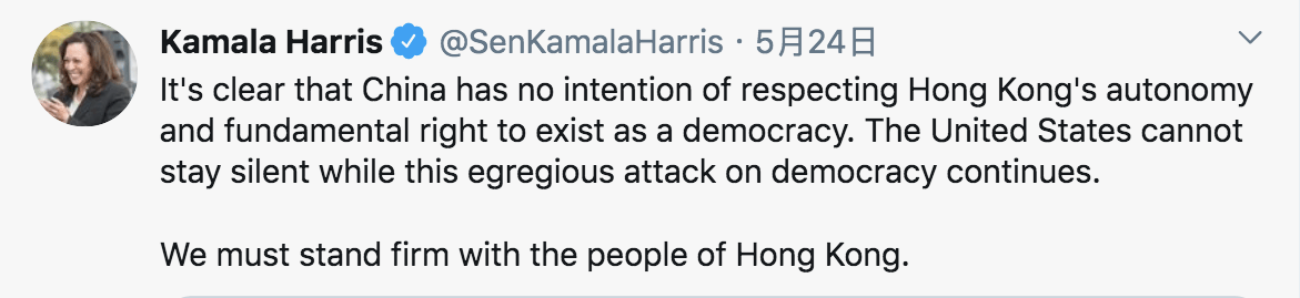圖五b:賀錦麗在今年5月就香港人權和民主表態。 (來源:賀錦麗 Twitter 帳戶)