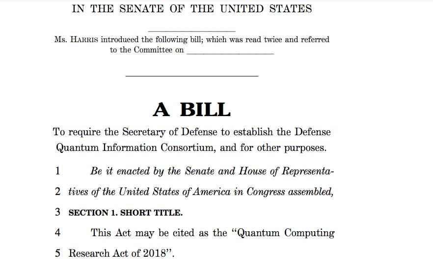 圖三:賀錦麗在2018年曾提出草案要求國防部統籌軍隊、官、產、研的量子計算研究。 (來源:harris.senate.gov)