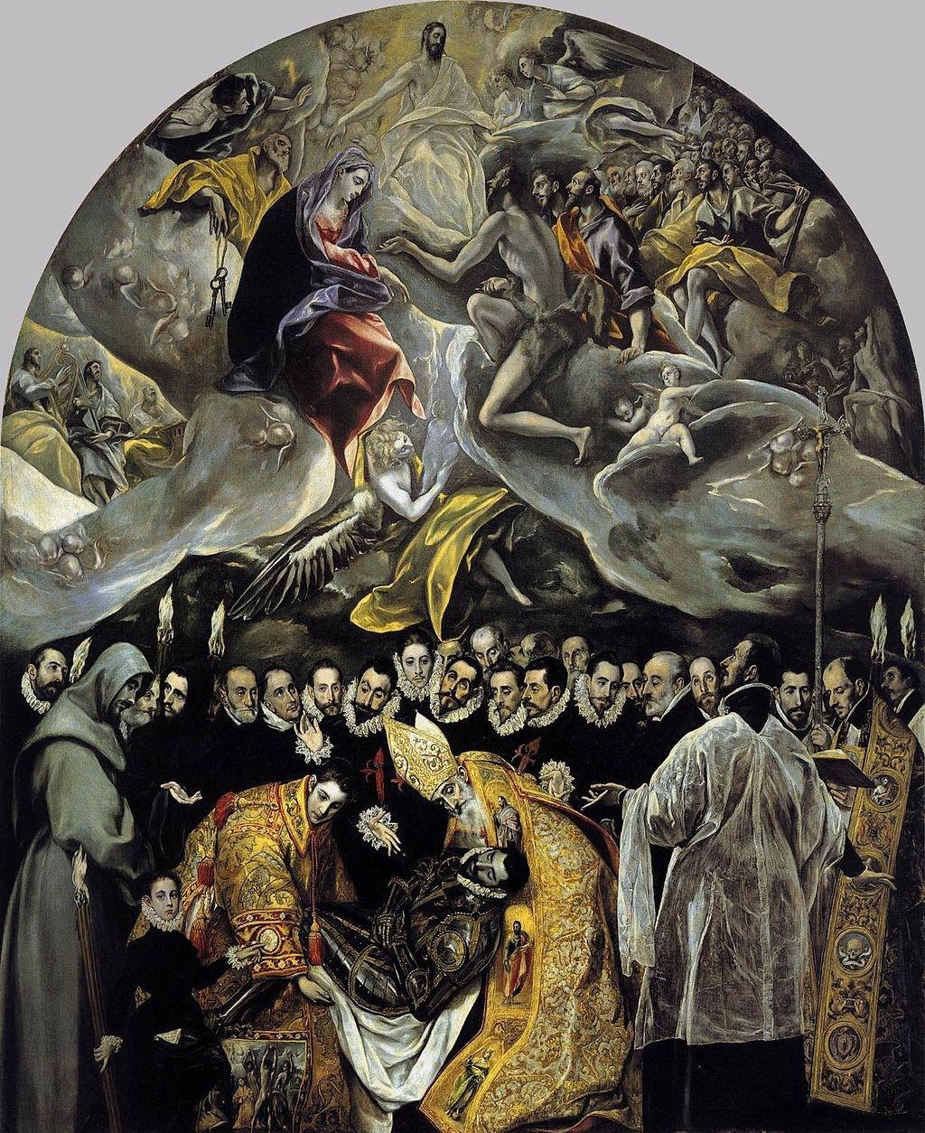 (圖1)《歐貴茲伯爵的葬禮》,艾爾.葛雷柯,1586-88,帆布油畫,高4.8米 寬3.65米,西班牙托萊多聖多默教堂,The Burial of the Count of Orgaz, El Greco, Iglesia de Santo Tome, Toledo, Spain