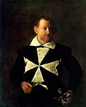 (圖8)安東尼奧·馬爾泰利肖像,卡拉瓦喬,1608,帆布油畫,高1.19米,寬0.96米,翡冷翠彼提宮。Portrait of Fra Antonio Martelli, Caravaggio, Pitti Palace, Firenze.