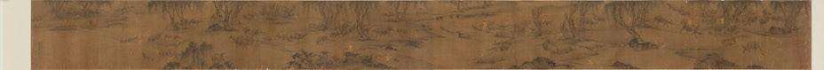 明代《百牛圖卷》,繪有牛群在村郊河邊嬉戲,數目剛好100隻,不多也不少。