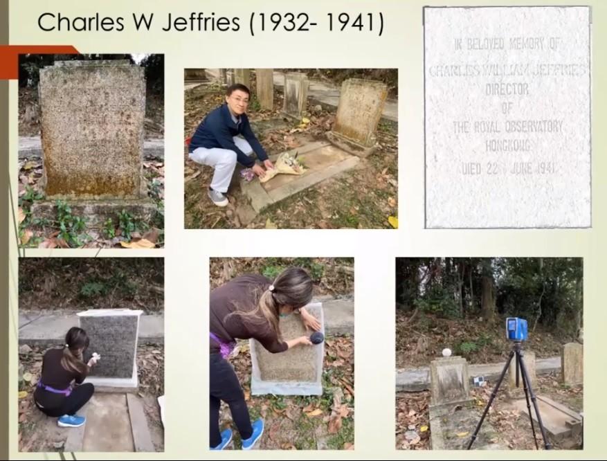 岑智明在香港墳場找到已故天文台長Jeffries的墳墓,並拓了碑文送給Jeffries的外孫。(岑智明簡報)
