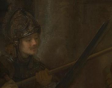(圖12)《夜巡》(局部),沉思的隊員2。倫勃朗,1642,阿姆斯特丹荷蘭國立博物館。The Night Watch (partial), Rembrandt, Rijksmuseum.