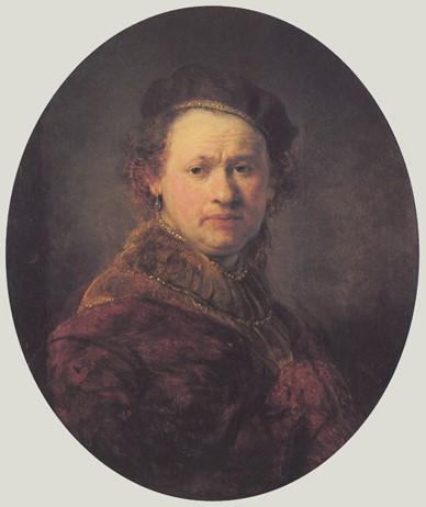 (圖10)自畫像,倫勃朗,1645(時39歲),木板油畫,高68.5cm,寬56.5cm,德國卡爾斯魯厄國家美術館。Self Portrait, Rembrandt, Staatliche Kunsthalle, Karlsruhe, Germany.