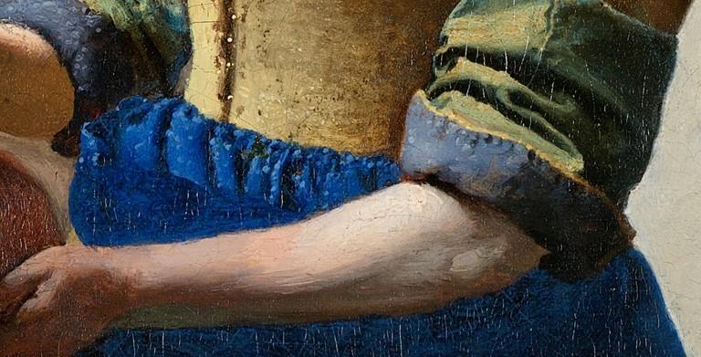 (圖5)倒牛奶的女僕(局部,女僕厚重富質感的衣服與白皙的手臂),維梅爾,荷蘭國立博物館。The Milkmaid (Close Up), Vermeer, Rijksmuseum.